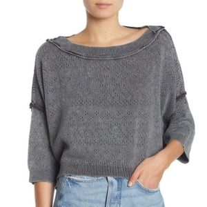 Free People Sandcastle Crop Sweater Black, NWT